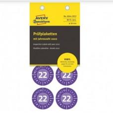 Avery 6944-2022 Inspektionsetiketter vinyl 2022, Ø30, 80stk