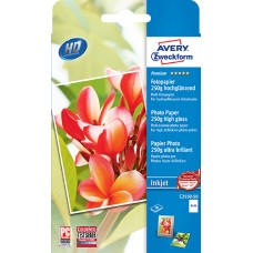 Avery C2550-50 Foto Kort, 250 g, premium glättat, 10x15cm, 50 ark