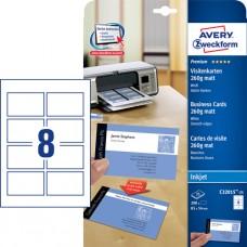 Avery C32015-25 Dubbelsidiga visitkort Bläckstråleskriv 260g, 85x54mm
