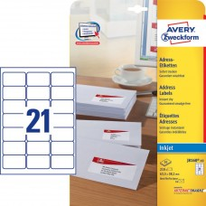 Avery J8160-10 QuickDry Adressetiketter små kuvert, 63,5x38,1mm, 10ark