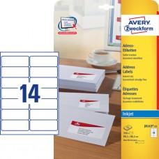 Avery J8163-25 QuickDry Adressetiketter DL-kuvert, 99.1x38.1mm, 25ark