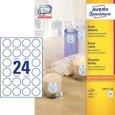 Avery L3415-100 Runda etiketter, vita, Ø40 mm, 24 st x 100 ark
