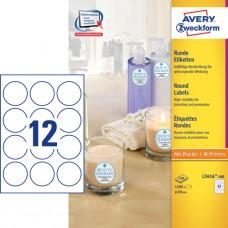 Avery L3416-100 Runda etiketter, vita, Ø60 mm, 12 st x 100 ark.
