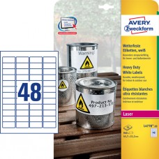 Avery L4778-20 Extra slitstarka etiketter, vita, 45.7 x 21.2mm 20 ark