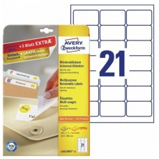 Avery L6023REV-25 avtagbara etiketter 21 pr. ark 63,5 x 38,1 30ark
