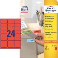 Avery L6034-20 Färgade etiketter, RÖDA, 63,5 x 33,9 mm, 24st x 20 ark