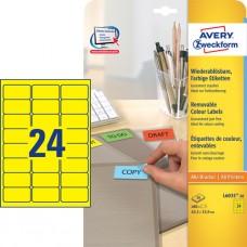 Avery L6035-20 Färgade etiketter, GULA, 63,5 x 33,9 mm 24 st. x 20 ark