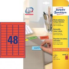 Avery L6038-20 Färgade mini-etiketter, RÖDA, 45,7x21,2mm 20ark