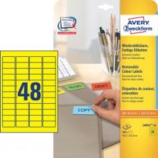 Avery L6041-20 Färgade mini-etiketter, GULA, 45,7x21,2mm 20ark