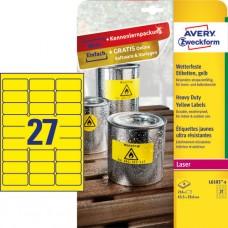 Avery L6105-8 Slitstarka etiketter, gula 63,5x29,6mm 8ark