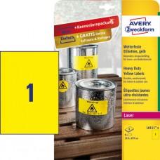 Avery L6111-8 Slitstarka etiketter, gula 210x297mm 8ark