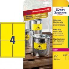 Avery L6127-8 Slitstarka etiketter, gula 99,1x139mm 8ark