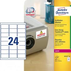 Avery L6141-20 Starka och extra hållbara etiketter 63,5x33,9mm 20ark