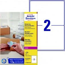 Avery L7168B-100 BlockOut etiketter 2 pr. ark 199.6 x 143.5 100ark
