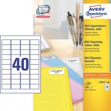 Avery L7654-100 Minietiketter, vita, 45,7 x 25,4mm, 40 st x100 ark