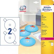 Avery L7760-25 Full Face CD-etiketter, glans färglaser, ø117mm 25ark