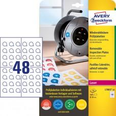 Avery L7803-10 Avtagbara inspektionsetiketter, vita, 10 x 48st. ø20