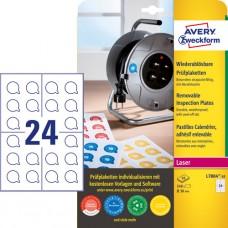 Avery L7804-10 Avtagbara inspektionsetiketter, vita, 10 x 24st. ø30