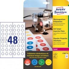 Avery L7805-10 Inspektionsetiketter med VOID-plombering, vita, Ø20