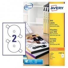 Avery L7860-20 Full Face DVD etiketter matt, vita 2 pr. ark d 117 20 ark