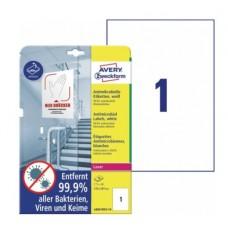 Antimikrobielle vita etiketter 210x297mm Avery L8001REV-10