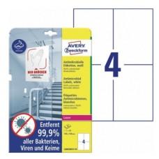 Antimikrobielle vita etiketter 105x148mm Avery L8003REV-10