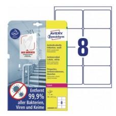 Antimikrobielle vita etiketter 99,1x67,7mm Avery L8004REV-10