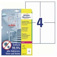 Antimikrobielle blanka etiketter 105x148mm Avery L8013-10