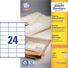 Avery LR3475 Adressetiketter små kuvert, 70 x 36mm, 24 st x100 ark