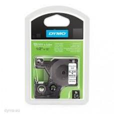 DYMO 16957 D1 Tape Fleksibel 12mm x 3,5m sort på hvid, S0718040