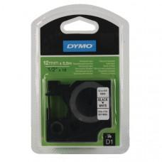 DYMO 16959 D1 Tape Permanent 12mm x 5,5m sort på hvid, S0718060