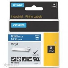 DYMO Rhino 1805243 Vinyl tape 12mm x 5,5m hvid på blå