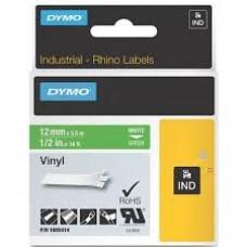 DYMO Rhino 1805414 Vinyl tape 12mm x 5,5m hvid på grøn