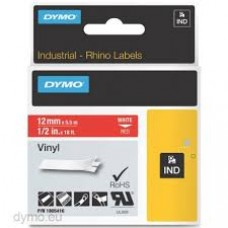 DYMO Rhino 1805416 Vinyl tape 12mm x 5,5m hvid på rød