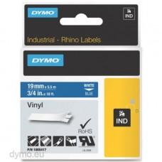 DYMO Rhino 1805417 Vinyl tape 19mm x 5,5m hvid på blå