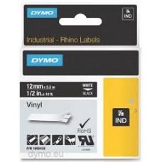DYMO Rhino 1805435 Vinyl tape 12mm x 5,5m hvid på sort