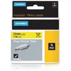 DYMO RhinoPRO krympeflex 24mm x 1,5m sort på gul 1805444