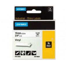 DYMO Rhino 18445 Vinyl tape 19mm x 5,5m sort på hvid