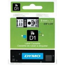 DYMO 40910 D1 Tape 9mm x 7m sort på klar/transparent, S0720670
