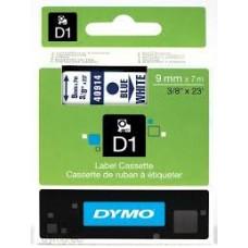 DYMO 40914 D1 Tape 9mm x 7m blå på hvid, S0720690