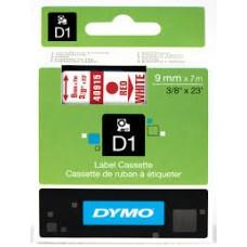 DYMO 40915 D1 Tape 9mm x 7m rød på hvid, S0720700
