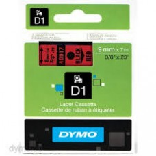DYMO 40917 D1 Tape 9mm x 7m sort på rød, S0720720