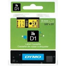 DYMO 40918 D1 Tape 9mm x 7m sort på gul, S0720730