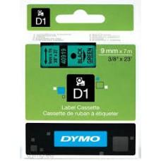 DYMO 40919 D1 Tape 9mm x 7m sort på grøn, S0720740