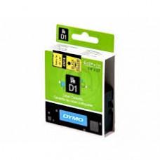 DYMO 43618 D1 Tape 6mm x 7m sort på gul, S0720790
