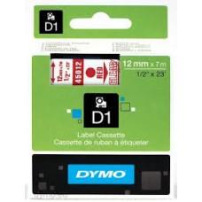 DYMO 45012 D1 Tape 12mmx7m rød på klar/transparent