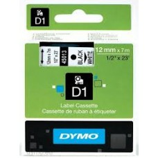 DYMO 45013 D1 Tape 12mm x 7m sort på hvid, S0720530