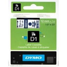 DYMO 45014 D1 Tape 12mm x 7m blå på hvid, S0720540