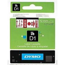 DYMO 45015 D1 Tape 12mm x 7m rød på hvid, S0720550