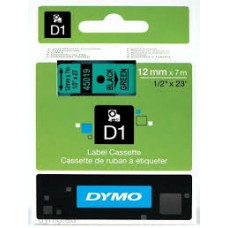 DYMO 45019 D1 Tape 12mm x 7m sort på grøn, S0720590